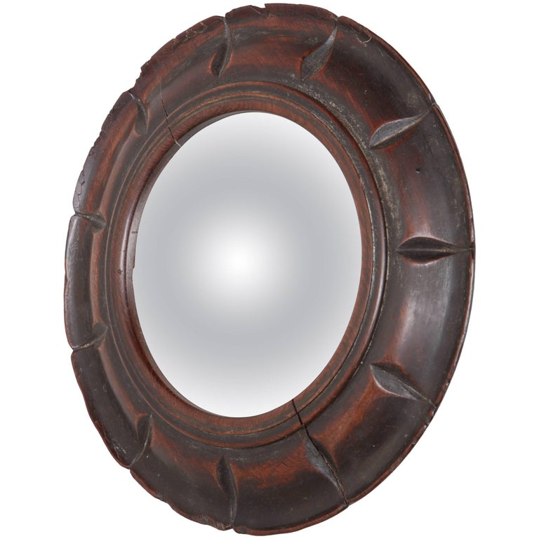 19th Century English, Convex Mirror in a Carved Wooden Frame