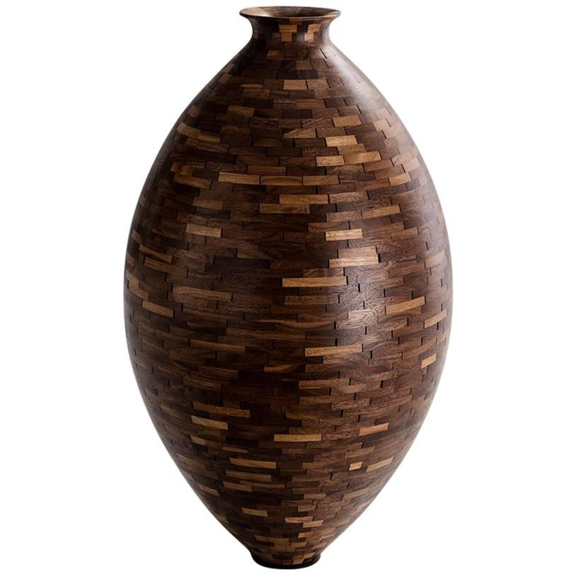 STACKED Walnut Vase by Richard Haining, Available Now