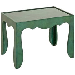 Trocadero Lacquered Goatskin Accent Table in Jade