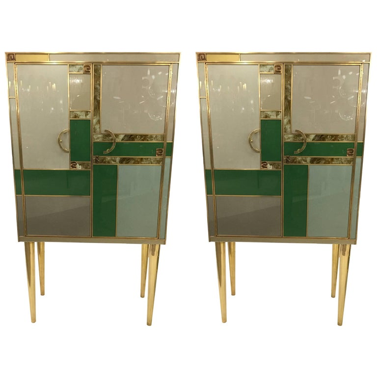 Pair of Exceptional Italian Dry Cocktail Bars in Multi-Color Glass & Brass, 1970