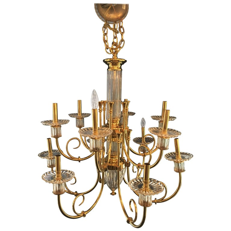 Custom 12-Light Bronze and Cut Crystal Chandelier with Chain and Crystal Canopy For Sale