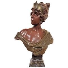 'Lucrece': Art Nouveau Bronze by Emmanuel Villanis