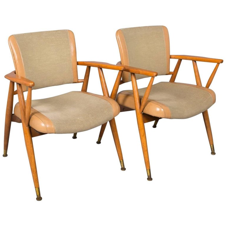 Pair of Midcentury American Armchairs For Sale