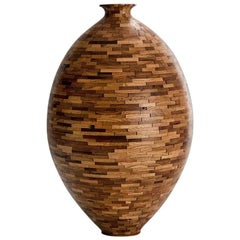 Contemporary American Large Wooden Vase, Oak, Handmade, Sculpture, In Stock
