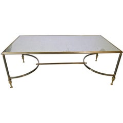 Maison Jansen Style Rectangular Cocktail Table, Satin Steel, Polished Brass