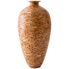 Contemporary American Wooden Vase, Cherry, Handmade, Available Now
