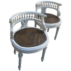 Pair of 19th Century, French Hand-Carved Louis XVI Painted Vanity Benches
