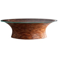 Contemporary American Oval Coffee Table, Glass Top, shown in Reclaimed Mahogany