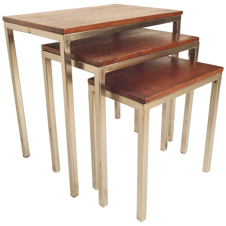 Wood Stacking Tables ~ Set of wood top nesting tables for sale at stdibs