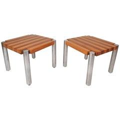 Mid-Century Modern Teak End Tables with Chrome Legs
