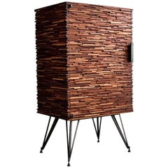 Contemporary American Cellarette, Cabinet, Mahogany, Steel Base, Available Now