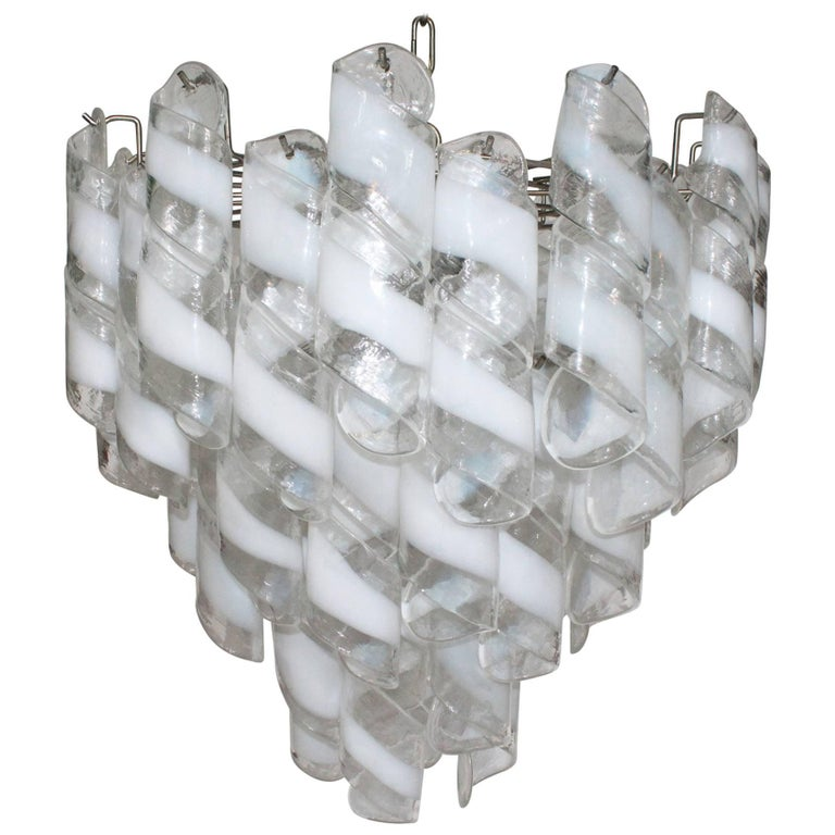 Murano Glass Tiered Chandelier For Sale