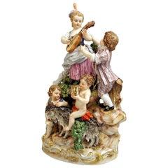 Meissen Bucolic Festival Figurines Cherubs Couple Musicians Acier C 59 Made 1850