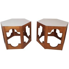 Pair of Mid-Century Modern Italian Hexagonal End Tables
