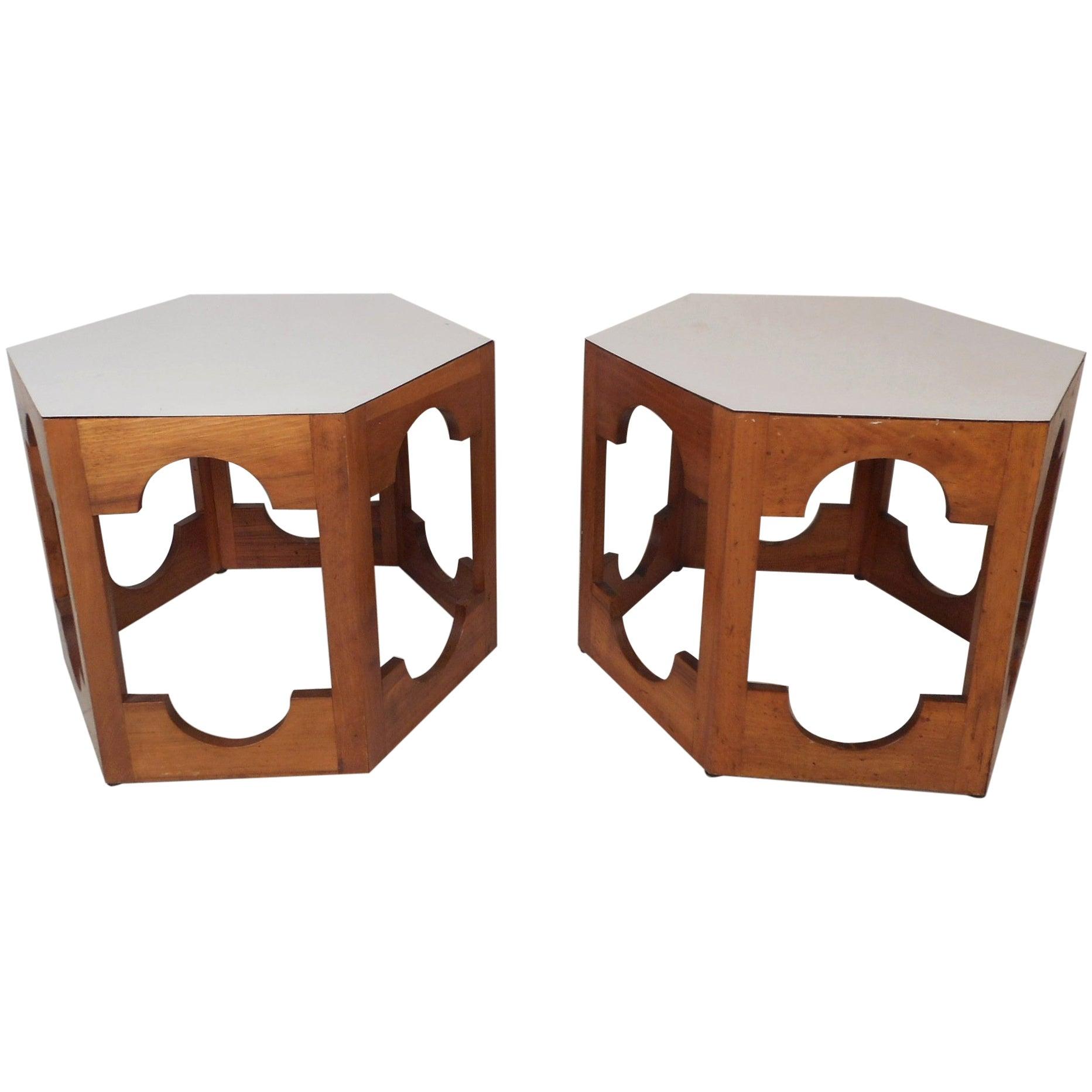 Pair of Mid-Century Modern Italian Hexagonal End Tables