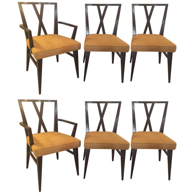 Set of Six Tommi Parzinger X-Back Dining Two-Arm Four Side Chairs