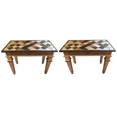 Pair of Parcel Gilt and Paint Decorated Checkerboard Marble-Top Consoles
