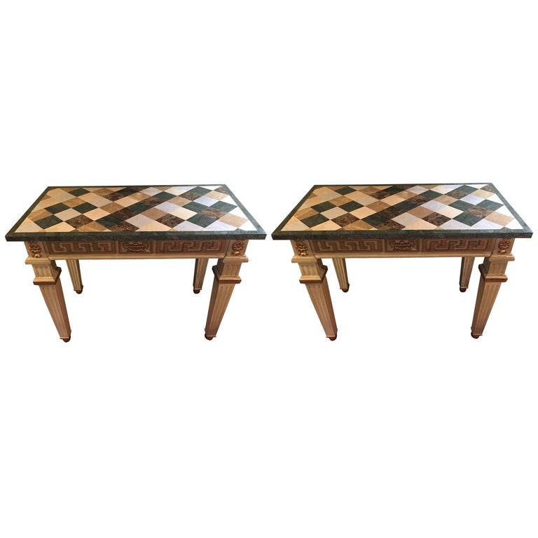 Pair of Parcel Gilt and Paint Decorated Checkerboard Marble-Top Consoles For Sale