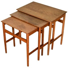 Set of Three Oak Hans Wegner Nesting Tables for Andreas Tuck