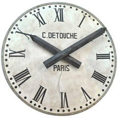 French Large Iron Train Station Clock Face, circa 1920