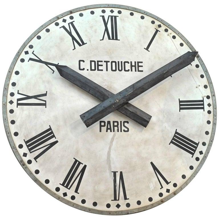 French Large Iron Train Station Clock Face Circa 1920 At