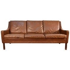 Danish Midcentury Børge Mogensen Style Leather Three-Seat Sofa