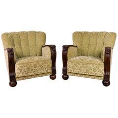 Pair of Danish Art Deco Easy Chairs, circa 1940