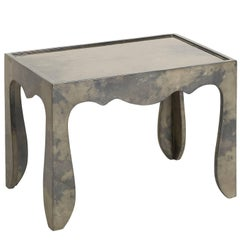 Trocadero Lacquered Goatskin Accent Table in Charcoal