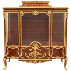 French Ormolu-Mounted Mahogany, Kingwood, Marquetry and Parquetry Vitrine