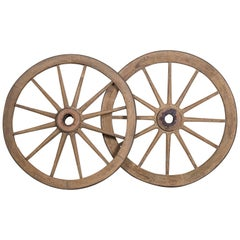 Pair of Antique French Iron Bound Wagon Wheels, circa 1880