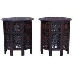 Pair of Carved Anglo Indian End Tables or Stands
