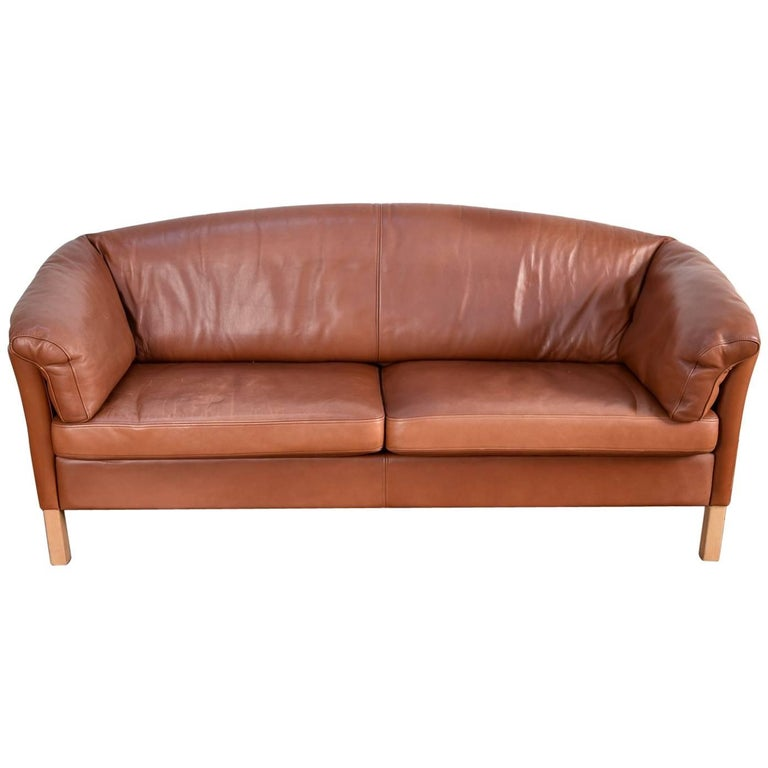 Leather Sofa Sale India: Mogens Hansen Model 35 Sofa In Indian-Red Leather For Sale