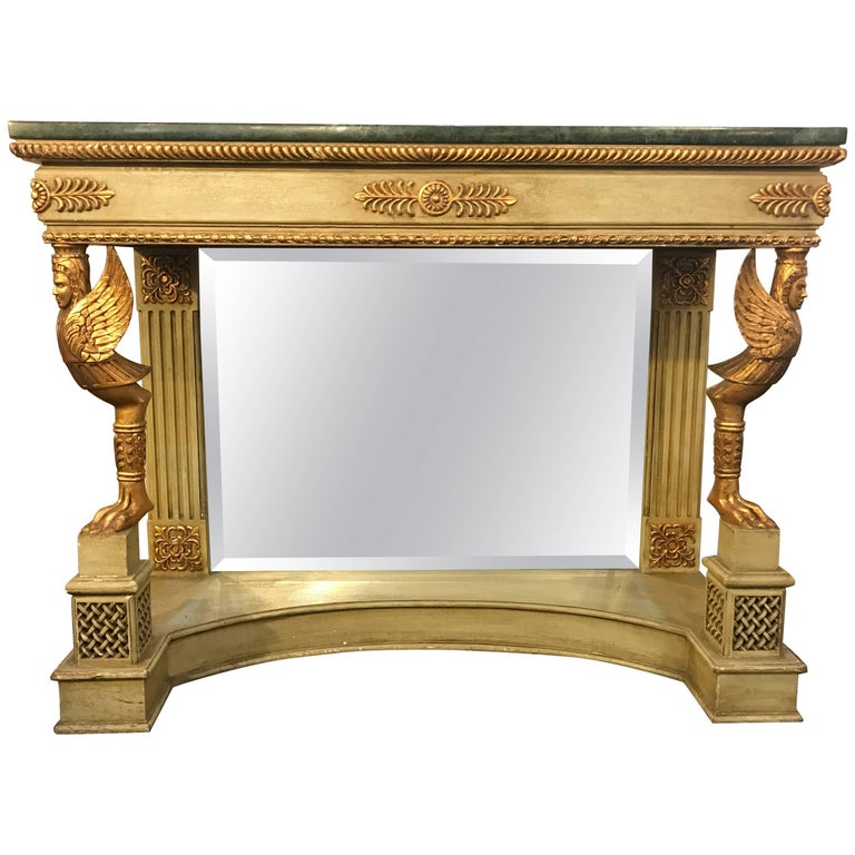 French Marble-Top Console with Gilt Carved Figures and Malachite Style Marble
