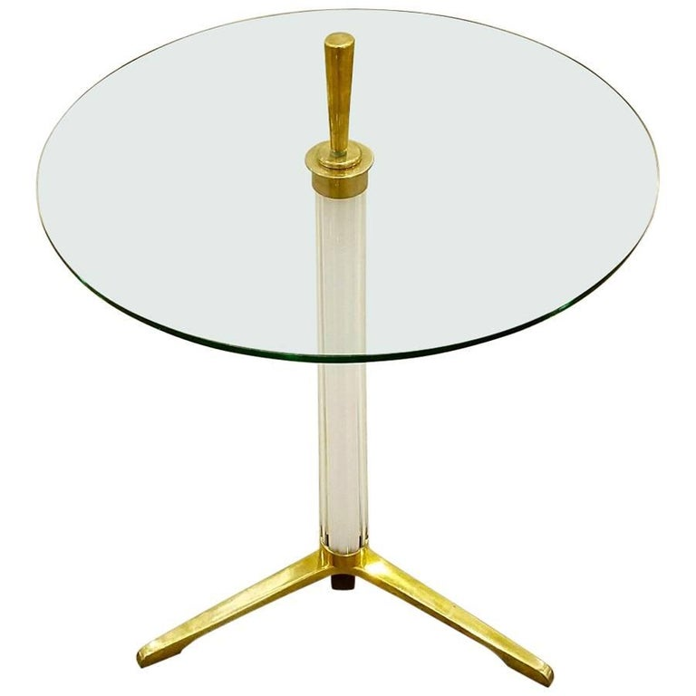 Italian Midcentury White Murano Glass and Brass Tripod Side or End Table For Sale