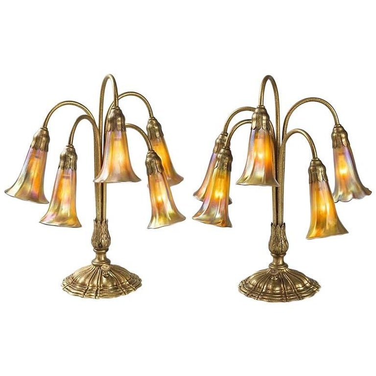"Pair of Tiffany Studios New York ""Five-Light Lily"" Lamps"