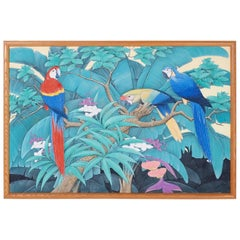 Midcentury Tropical Parrot Acrylic Painting
