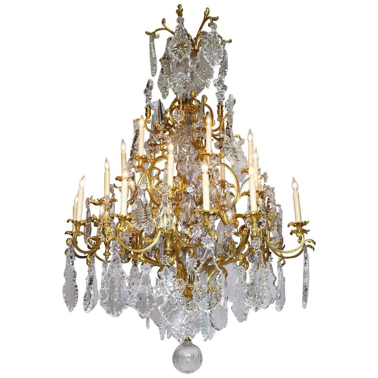 French 19th Century Louis XV Style Gilt-Bronze Crystal Chandelier Attr. Baccarat