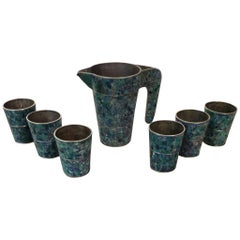 Mexican Modernist Pitcher and Cups in the Style of Salvador Teran, Set of Seven