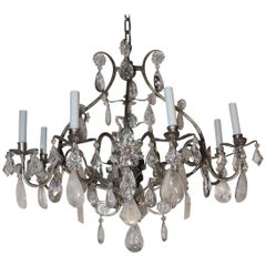 Transitional Silvered Gilt Bagues Eight-Light Rock Crystal Jansen Chandelier