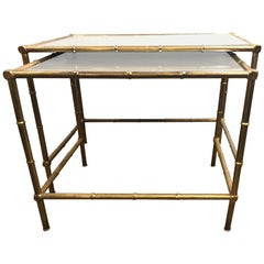 Brass Nest of Tables with Mirror Tops in Bamboo Form