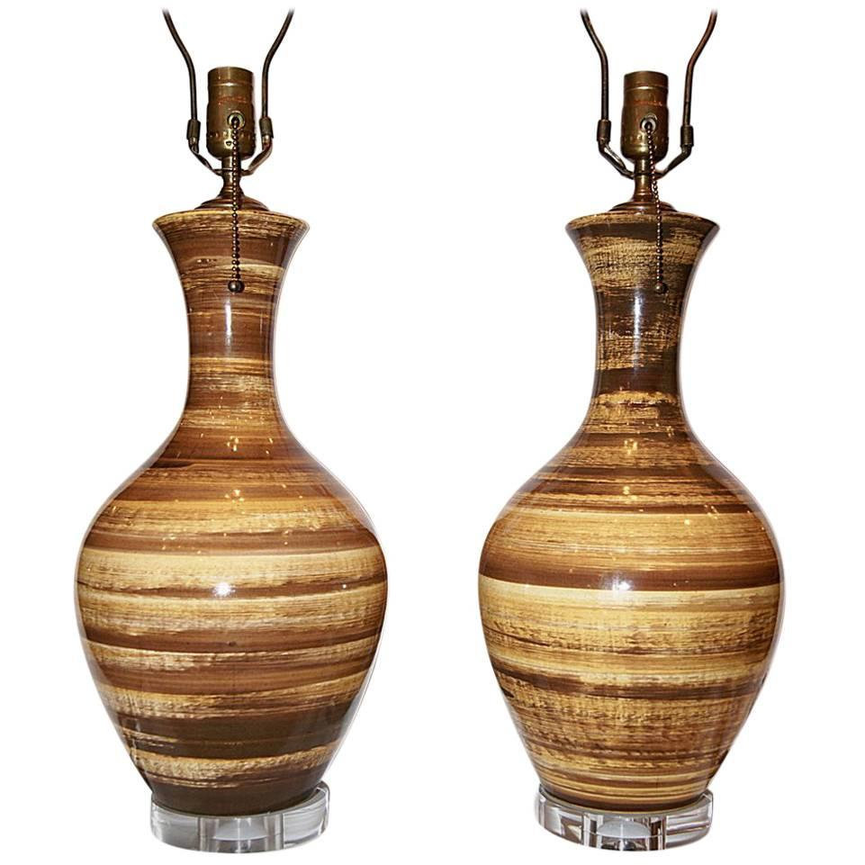 Pair of Moderne Italian Porcelain Lamps