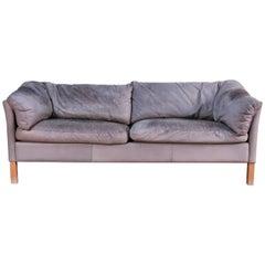 Mogens Hansen Model 35 Gray Leather Sofa