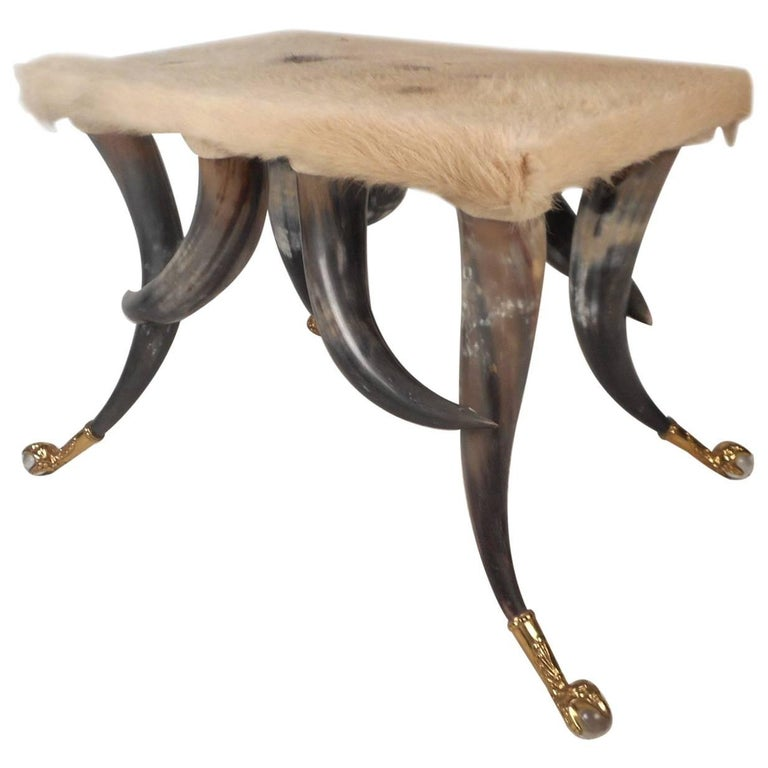 Vintage Cowhide and Horn Ottoman
