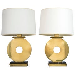 "1970s Brass and Black Marble ""O"" Table Lamps"
