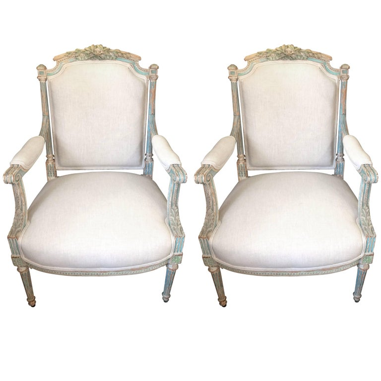 Pair of Lovely French Style Painted Wood Armchairs
