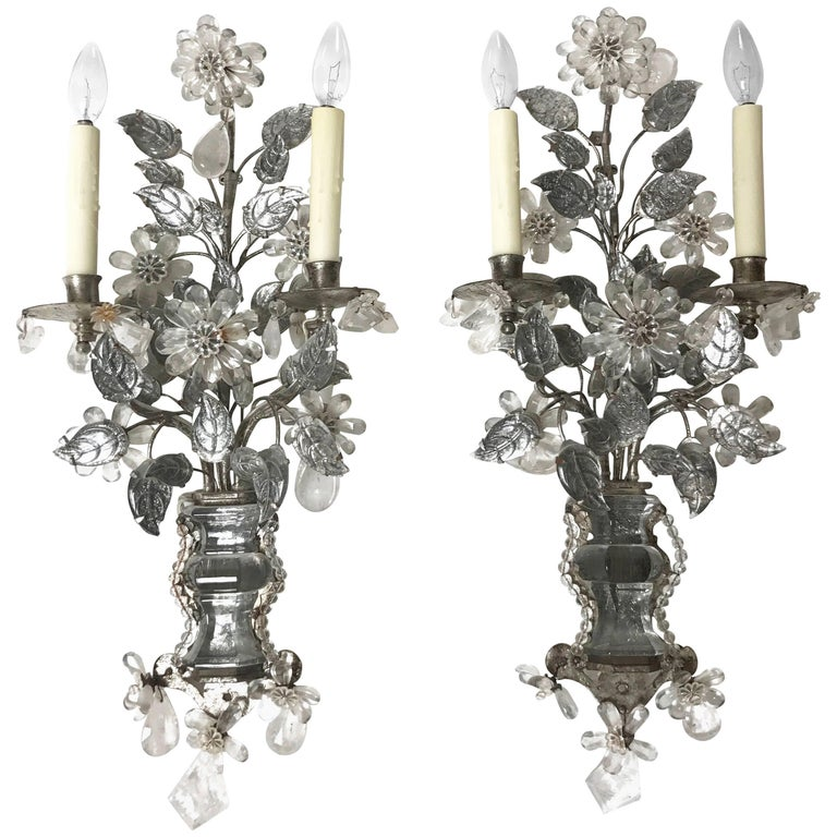 Maison Baguès Style Two-Arm Rock Crystal and Silvered Metal Sconces 1