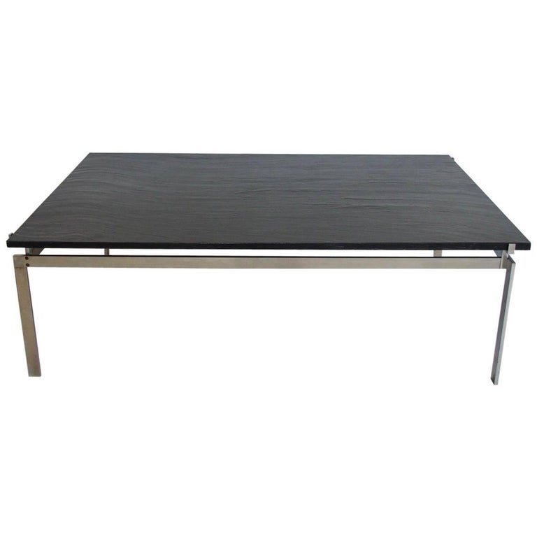 Large Steel and Black Slate Coffee Table in the Style of Poul Kjaerholm