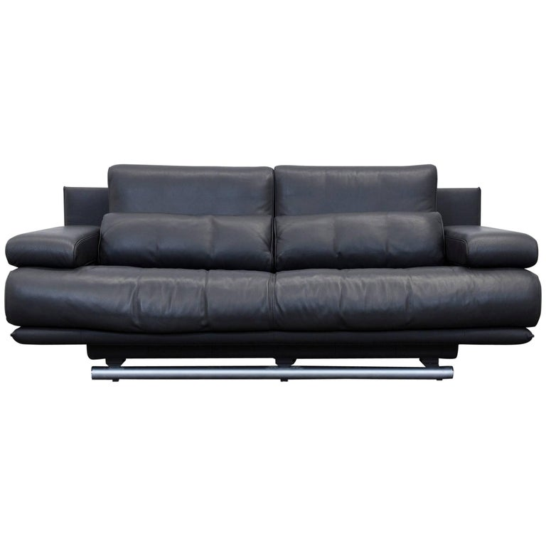 rolf benz 6500 designer sofa black three seater modern. Black Bedroom Furniture Sets. Home Design Ideas