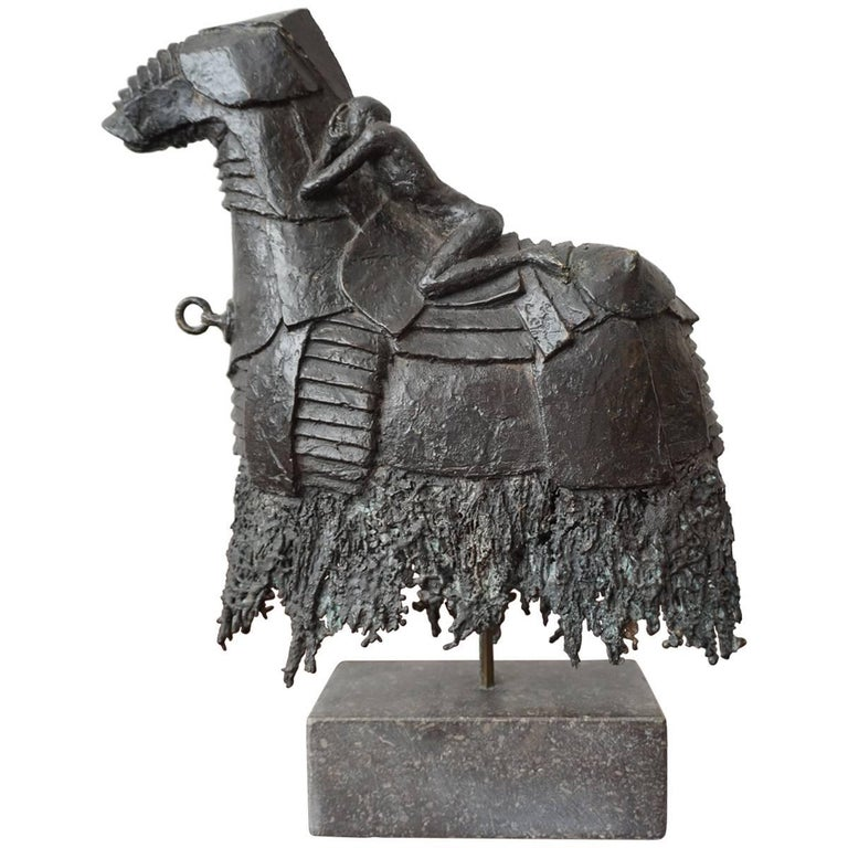 Rare Bronze Sculpture of a Nude and Troubled Male on a Trojan like Armored Horse