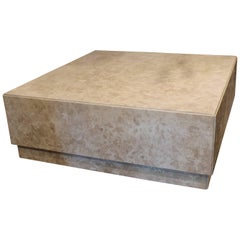 Contemporary Coffee Table with Mitered Corners in Honed Travertine Marble
